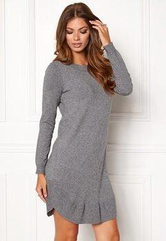 VERO MODA Annika LS Ruffle Dress Medium Grey Melange Bubbleroom.no