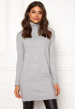 VERO MODA Brilliant LS Rollneck Dress Light Grey Melange Bubbleroom.se