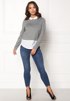 VERO MODA Cindy LS Shirt Top Medium Grey Melange Bubbleroom.se