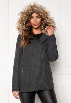 VERO MODA Collar York Wool Jacket Dark Grey Melange Bubbleroom.se