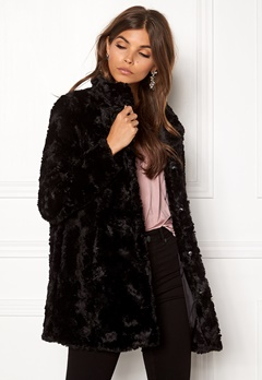 VERO MODA Curl Faux Fur Jacket Black Bubbleroom.se