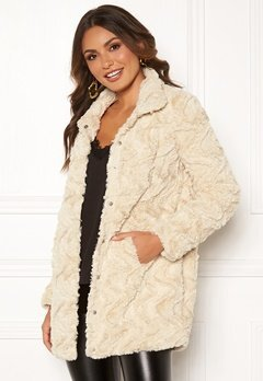 VERO MODA Curl High Faux Fur Jacket Oatmeal Bubbleroom.se