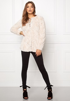 VERO MODA curl long fake fur jacket Oatmeal Bubbleroom.fi