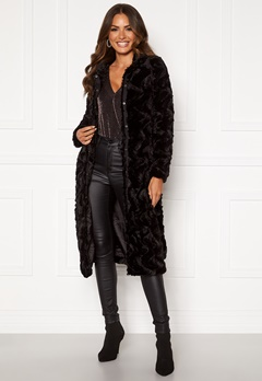 VERO MODA Curl Long Faux Fur Jacket Black Bubbleroom.se
