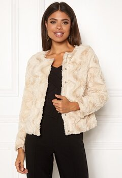 VERO MODA Curl Short Faux Jacket White Bubbleroom.se