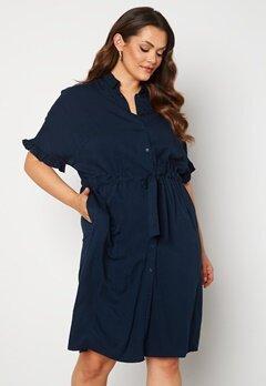 Vero Moda Curve Fanni SS Midi Dress Navy Blazer Bubbleroom.se