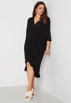 Vero Moda Curve Hillo SS Wrap Dress Black bubbleroom.se