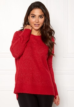 VERO MODA Cute LS Oversize Knit Chinese Red Bubbleroom.se