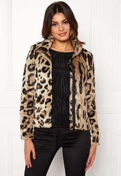 VERO MODA EA Leopard Short Faux Fur Silver Mink Bubbleroom.se