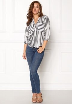 VERO MODA Erika Stripe 3/4 Shirt Snow White Stripes Bubbleroom.fi