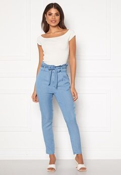 VERO MODA Eva HR Paperbag Pant Light Blue Denim Bubbleroom.se