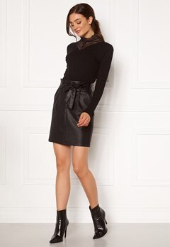 VERO MODA Eva Paperbag Short Coated Skirt Black Bubbleroom.se