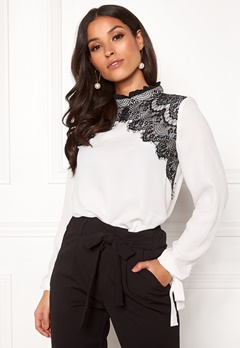 VERO MODA Fana Sharpa L/S Lace Top Snow White Bubbleroom.se