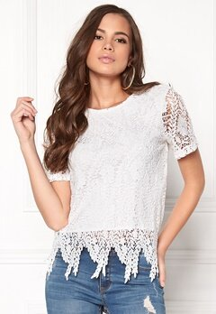 VERO MODA Flora s/s Lace Top Snow White Bubbleroom.fi