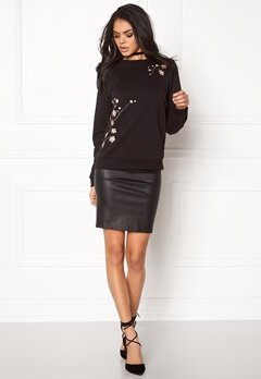 VERO MODA Flower Embroidery Sweat Black Bubbleroom.fi