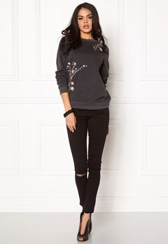 VERO MODA Flower Embroidery Sweat Dark Grey Melange Bubbleroom.se