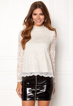 VERO MODA Freja Lace High Neck Top Eggnog Bubbleroom.se