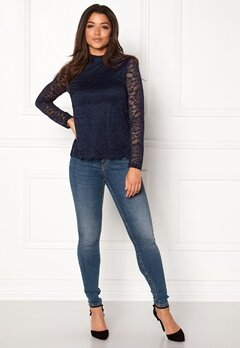 VERO MODA Freja Lace High Neck Top Navy Blazer Bubbleroom.eu