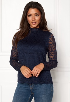 VERO MODA Freja Lace High Neck Top Navy Blazer Bubbleroom.se