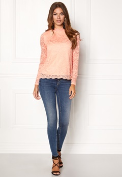 VERO MODA Freja Lace High Neck Top Rose Cloud Bubbleroom.se