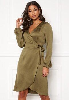 VERO MODA Gamma l/s Wrap Dress Military Olive Bubbleroom.se