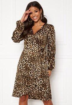 VERO MODA Gamma l/s Wrap Dress Pristine/Leo Bubbleroom.se