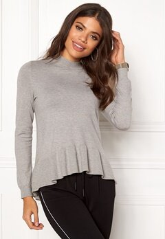 VERO MODA Gin Happy LS Highneck Light Grey Melange Bubbleroom.se