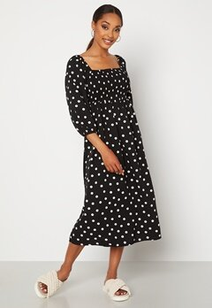 VERO MODA Ginna 3/4 Smock Square Dress Black AOP Medium Whi Bubbleroom.se