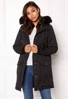 VERO MODA Gry New 3/4 Parka Black Beauty Bubbleroom.fi