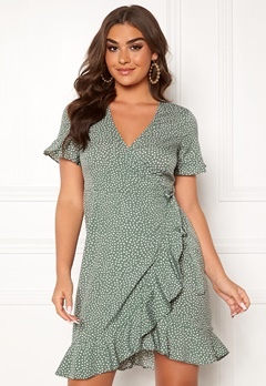 VERO MODA Henna 2/4 Wrap Dress Laurel Wreath Bubbleroom.se