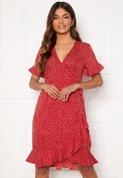 VERO MODA Henna 2/4 Wrap Frill Dress Goji Berry/White Dot Bubbleroom.se