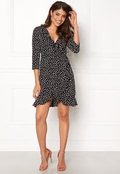VERO MODA Henna Dot 3/4 Wrap Dress Black Bubbleroom.se