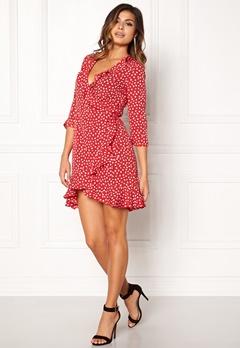 VERO MODA Henna Dot 3/4 Wrap Dress Lychee Bubbleroom.se