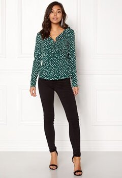 VERO MODA Henna Dot L/S Wrap Top Green Gables Bubbleroom.se