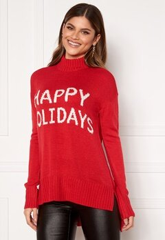 VERO MODA Holidays Long H/L Highneck Blouse Chinese Red, W. Snow Bubbleroom.se