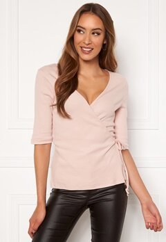 VERO MODA Hope 2/4 Rib Wrap Top Sepia Rose Bubbleroom.se