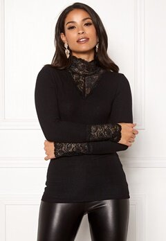 VERO MODA Kiwi LS Lace Top Black Bubbleroom.se