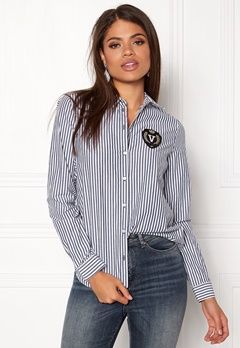 VERO MODA Leah Badge LS Shirt Snow White stripes Bubbleroom.se
