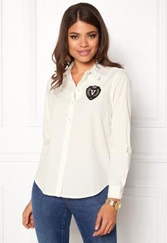 VERO MODA Leah Badge LS Shirt Snow White Bubbleroom.se