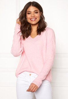 VERO MODA Lefile LS V-neck Blouse Prism Pink Bubbleroom.se