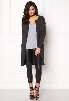 VERO MODA Lise ls O-neck Coatigan Dark Grey Melange Bubbleroom.fi