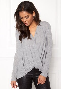 VERO MODA Luna Honie Wrap Top Light Grey Melange Bubbleroom.se