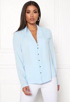VERO MODA Manja LS V-Neck Shirt Cool Blue Bubbleroom.se