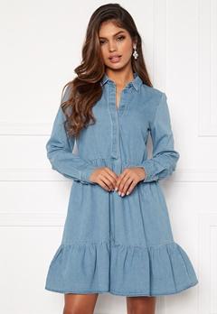 VERO MODA Maria Frill LS Dress Light Blue Denim Bubbleroom.se