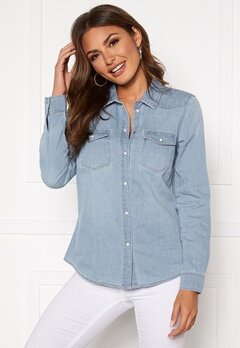 VERO MODA Maria LS Denim Slim Shirt Light Blue Denim Bubbleroom.se
