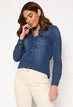 VERO MODA Maria LS Denim Slim Shirt Medium Blue Denim Bubbleroom.se
