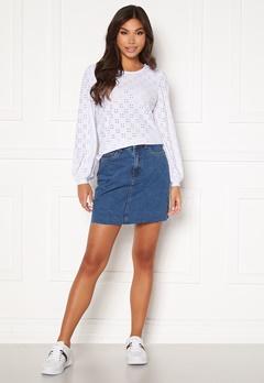 VERO MODA Mikky Raw Denim Skirt Medium Blue Denim Bubbleroom.se
