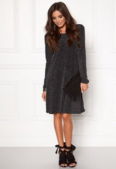 VERO MODA Nolia Shimmer l/s Dress Black Bubbleroom.se