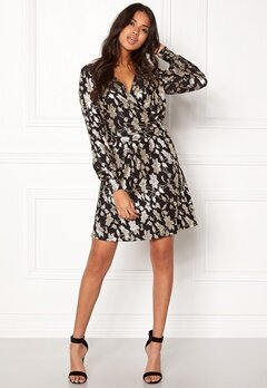 VERO MODA Romeo LS Wrap Short Dress Black Bubbleroom.se