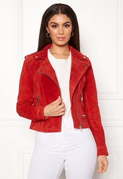 VERO MODA Royce Short Suede Jacket Fiery Red Bubbleroom.se